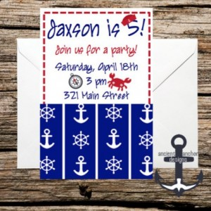 Printed Birthday Party Invitations - Nautical Themed - Custom Quantity - Anchor invitations with Envelopes!