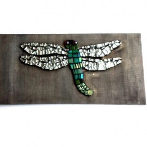 Green Dragonfly Original Mosaic Artwork. Mixed Media Bug Wall Hanging. One of a Kind Nature Home Decor. Ready to Hang Woodland Wall Art