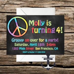 Printed Groovy Birthday Party Invites - Chalkboard -  100% Personalized - Birthday Party Invitation Tie Dye Invitations With Envelopes!