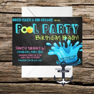 Printed Chalkboard Pool Birthday Party Invites -  100% Personalized - Birthday Party Invitation with Envelopes!