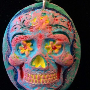 Day of the Dead, Sugar Skull, Calavera, Dia de los Muertos, skull, pendant, necklace, candy skull, charm! Gifts under 25.