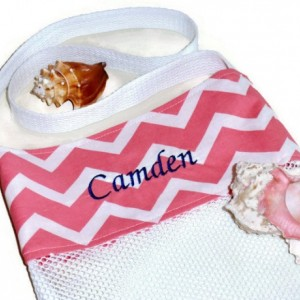 Personalized Beach Tote Coral Peach Chevron Seashell Bag