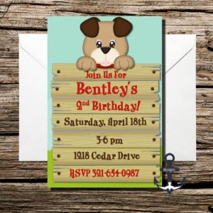Printed Puppy Birthday Party Invites, 100% Personalized - Birthday Party Invitation with Envelopes! Dog on Fence