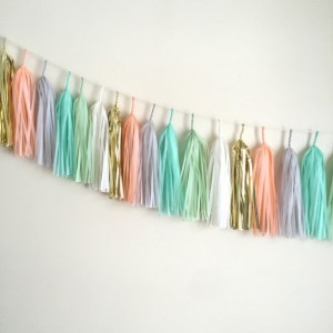 Brooklyn Sauce Tassel Garland // gold mint peach gray blue // baby shower // event decor // wedding decor // home decor