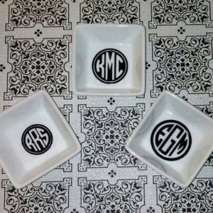 Monogrammed Ring/ Jewelry Dishes - Many Colors Available