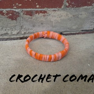 Ankle Bracelet, Woman's Anklet, Size Medium To Large, Orange Anklet, Fiber Wrapped, Eco Friendly, Summer Accessories,  Upcycled Jewelry