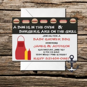 Printed Baby Shower Invites - Baby BBQ,  Personalized - Customized Quantities - With Envelopes!