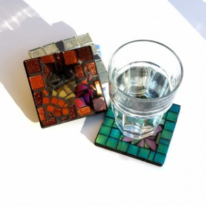 Mosaic Art Coasters of the Four Seasons, Spring, Summer, Fall, and Winter. Nice Mothers Day Gift.