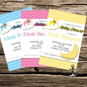 Printed Baby Shower Invites - Bear and Moon, 100% Personalized - Customized Quantities - Teddy Bear Shower Invitation with Envelopes!