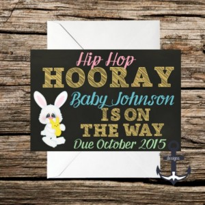 Printed Pregnancy Announcement, Easter, 100%  Personalized, Easter Bunny, Egg, Hip Hop