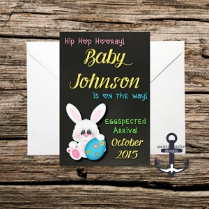 Printed Pregnancy Announcement, Easter, 100%  Personalized, Easter Bunny, Hip Hop
