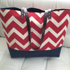 Large Tote Bag /// Red Chevron with Navy Canvas Bottom and Brown Buffalo Leather Straps