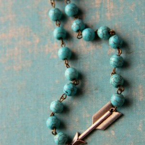 Turquoise and Silver Arrow Western Necklace