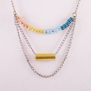 Colorful Beaded Brass Tube Chain Drop Necklace