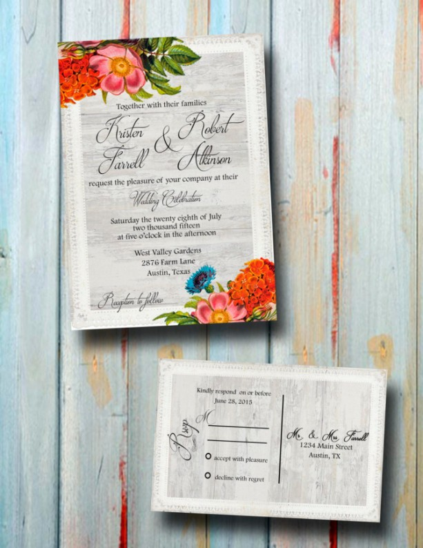 Custom Printed Floral and Lace Wedding Invitations-Fall Wedding Invitations