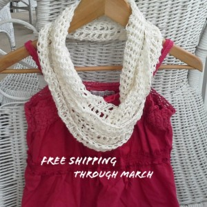 White Lace Crochet Scarf, Free Shipping Through March, Spring Scarf, Summer Scarf, Linen/ Cotton Blend, Vegan Friendly, Women's Scarves