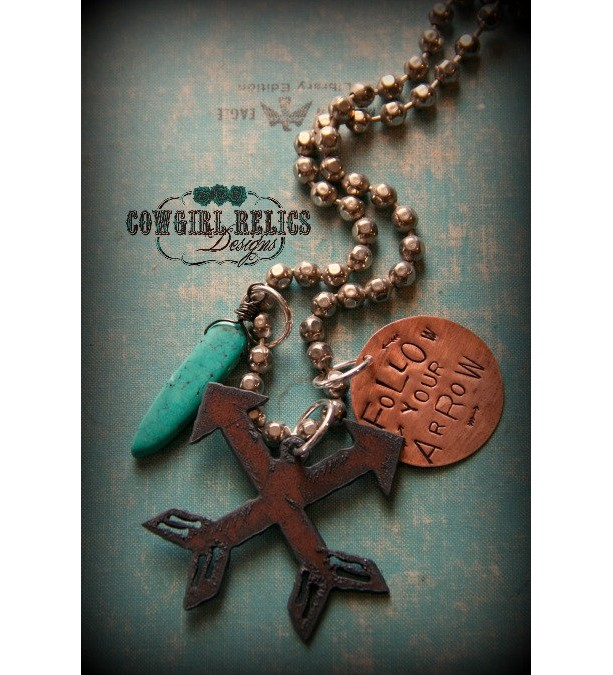 Rustic Western Charm Necklace-Follow Your Arrow, Turquoise, Bold, Chunky