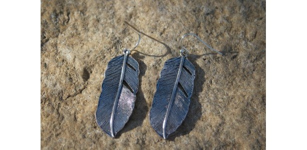 Antiqued Silver Tone Feather Rustic Western Earrings
