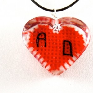 Personalized, cross stitch, red heart pendant with couples initials