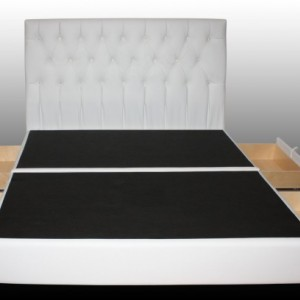 Pearl 4 Drawer Luxury Leather Storage Bed - Handtufted Leather Storage Platform Bed with Extra Large Drawers & Headboard with Crystals