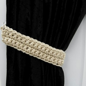 Curtain Tiebacks Set, One Pair of Solid Beige, Dark Cream, Tan Drapery Drapes Shower Curtain Swag Holders, Crochet..Ready to Ship in 3 Days