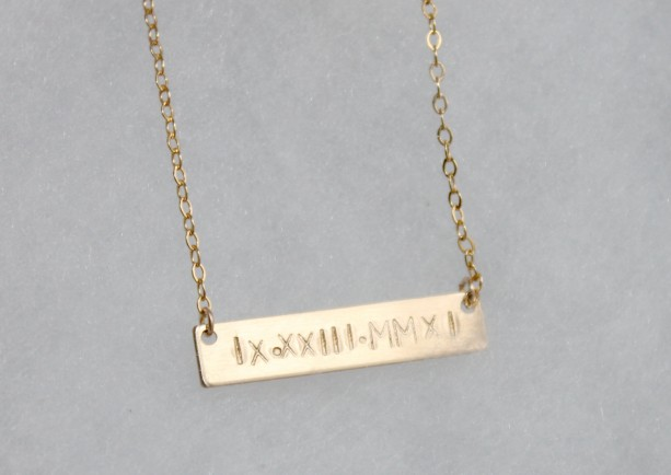 Personalized Gold Bar Necklace Roman Numeral Anniversary