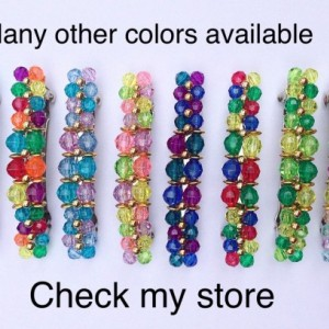 Beaded Hair Barrette, Faceted Beads, Girls Womens Beaded Hair Clip Clasp, Silver French Barette Accessory Jewelry, Red Yellow Blue Green