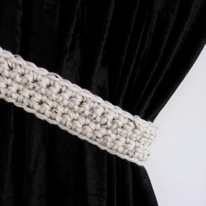 Curtain Tiebacks Set, One Pair Off White Tweed w/ Black & Brown, Basic Drapery Tie Backs, Thick Drapes Holders, Chunky Crochet Knit..Ready to Ship in 3 Days