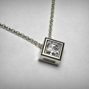 Simulated Diamond Necklace Pendant, Cubic Zirconia CZ Necklace Pendant, Sterling Silver Solitaire Princess Square Imitation Diamond Necklace