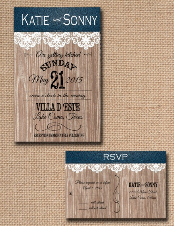 Custom Denim and Lace Country Wedding Invitations with RSVP country wedding - Rustic Wedding