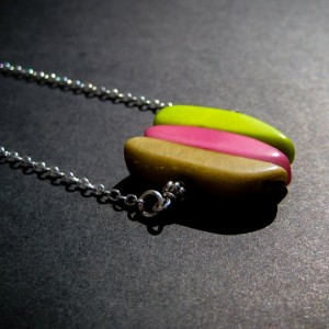 Summery Hanging Faux Gem Tagua Nut Necklace