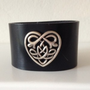 Leather Cuff with Large Celtic Heart