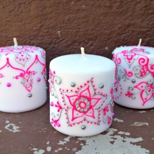 3 Piece Pink and Silver Henna Candle Set
