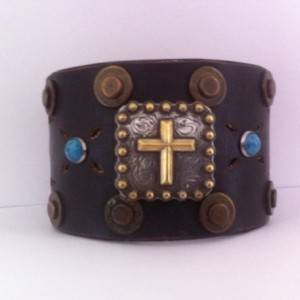 Men's Studded Brown Wide Leather Cuff