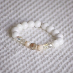 Chunk Beaded Spring Bracelet with Rose pink and white large glass beads with granite stone center on clear elastic