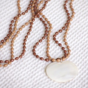 Sea Shell and Brown Beaded Layered necklace, Large round Seashell Pendant and two color shades of brown