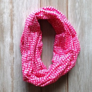 Bright Pink and White Swirl Print Infinity Scarf