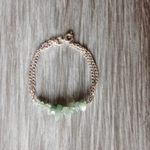 Mint Stone Chip and Silver Double Strand Bracelet