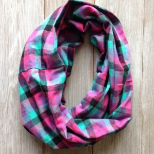 Plaid Infinity Scarf - Teal, Pink, Purple, and Black Very Cozy Yet Lightweight