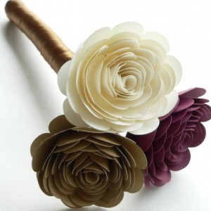 Small Bridesmaid Bouquet in Marsala, Gold, and Ivory