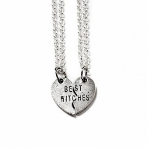Best Witches Heart with Sterling Silver Chains - Best Friends Jewelry