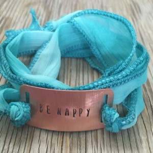 Handmade fabric cord wrap bracelet- jewelry with your choice of wording handmade copper hand stamped jewelry handmade jewelry made in USA