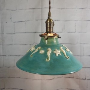 Handcrafted Pottery Hanging Ceiling Pendant Light Chandelier. This one is great for your beach restaurant or bar