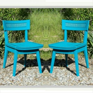 2 Chairs Vintage Pair Turquoise Teal Mid Century Modern Furniture Hand Painted Wood Cord Woven Dining Room Chair Living Room Seating Wood