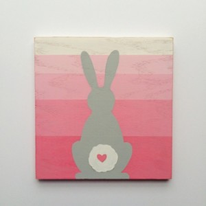 Woodland Bunny Nursery Art - Woodland Decor - Wood Wall Art - Pink Girl's Wall Art - Kid's Rabbit Art -  Distressed Painted Sign - Ombre Art