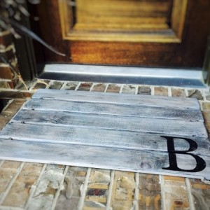 Wood Doormat, Monogram, Custom Distressed Finishes: ANTIQUED LIGHT GREY shown - Free Shipping
