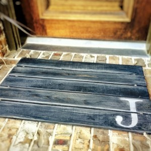 Wood Doormat, Monogram, Custom Distressed Finishes: 2-TONE DARK GREY shown - Free Shipping