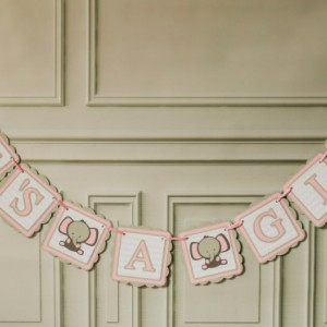 Baby Shower Banner elephant baby shower banner, grey chevron, its a girl banner, pink, white and grey