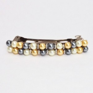 Pearl Beaded Hair Barrette, Womens Wedding Hair Clip Clasp, French Barette Accessory Jewelry, Yellow Black White