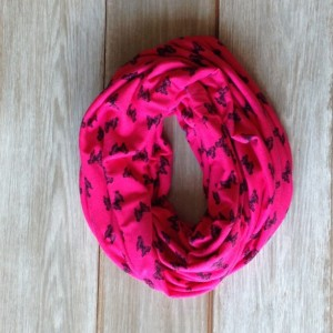 Hot Pink with Black Butterfly Infinity Scarf - Loop Scarf - Circle Scarf